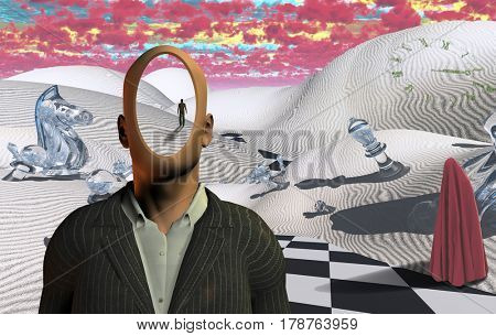 Surreal desert with chess figures. Faceless man in suit. Figure of man in a distance. Red clouds. Figure of man in hijab.     3D Rendering