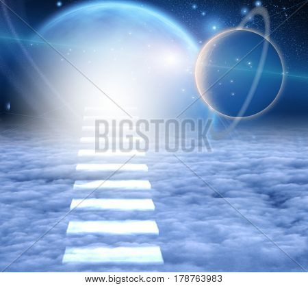 Stairway to Heaven. Endless space.     3D Rendering