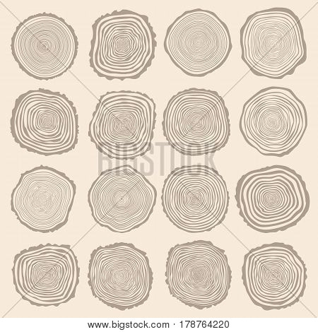 Collection of vector tree rings background and saw cut tree trunk. Conceptual graphics.