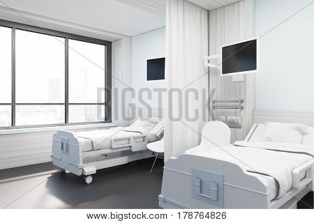 Side view of a hospital ward with two beds two monitors and two chairs. Concept of medicine and illness treatment. 3d rendering. Mock up