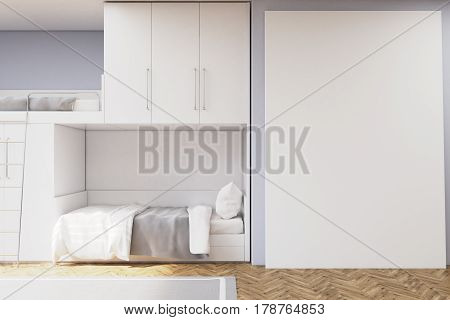 Teenager Room With A Bunk Bed And White Wall