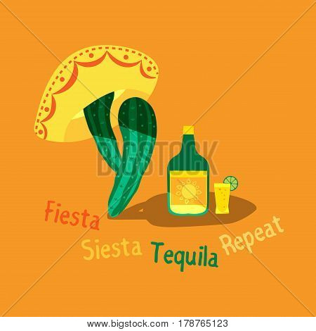 Mexican poster concept. Fancy cartoon style. Fiesta Siesta in Spanish festival rest. Bottle, shot glass of tequila, lime lemon. Cactus sombrero traditional symbol of Mexico. Vector element background