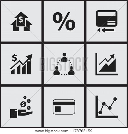 Set Of 9 Editable Statistic Icons. Includes Symbols Such As Progress, Banking House, Graph Information And More. Can Be Used For Web, Mobile, UI And Infographic Design.
