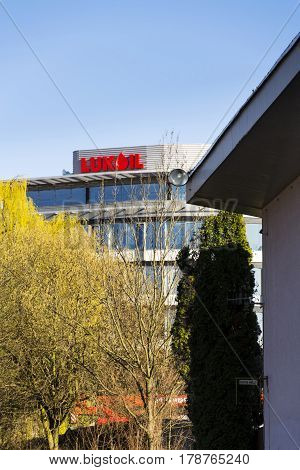 Prague, Czech Republic - March 28: Lukoil International Oil And Gas Company Logo On Czech Headquarte