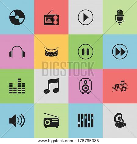 Set Of 16 Editable Media Icons. Includes Symbols Such As Speaker, Earphone, Equalizer And More. Can Be Used For Web, Mobile, UI And Infographic Design.
