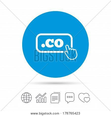 Domain CO sign icon. Top-level internet domain symbol with hand pointer. Copy files, chat speech bubble and chart web icons. Vector