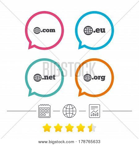 Top-level internet domain icons. Com, Eu, Net and Org symbols with globe. Unique DNS names. Calendar, internet globe and report linear icons. Star vote ranking. Vector