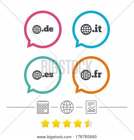 Top-level internet domain icons. De, It, Es and Fr symbols with globe. Unique national DNS names. Calendar, internet globe and report linear icons. Star vote ranking. Vector