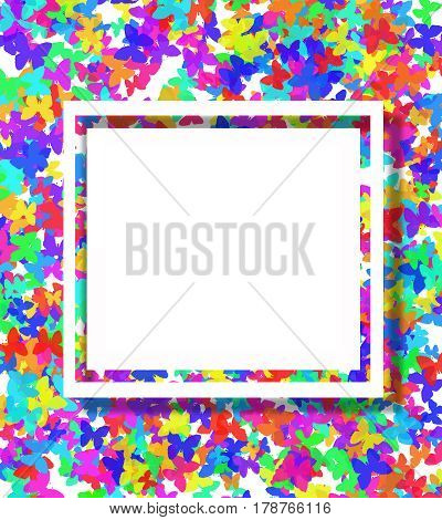 Blank greeting card with copy space on colorful butterflies background.