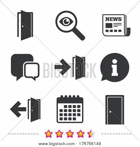 Doors icons. Emergency exit with arrow symbols. Fire exit signs. Newspaper, information and calendar icons. Investigate magnifier, chat symbol. Vector
