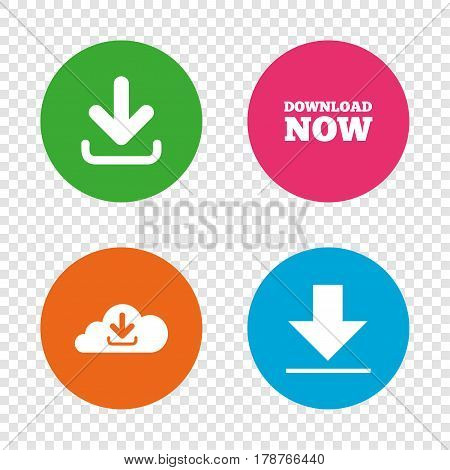 Download now icon. Upload from cloud symbols. Receive data from a remote storage signs. Round buttons on transparent background. Vector