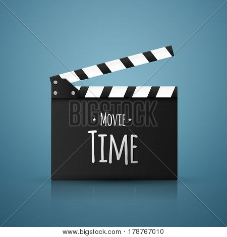 Movie time vector background. Realistic clapper board with text isolated on blue