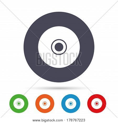 CD or DVD sign icon. Compact disc symbol. Round colourful buttons with flat icons. Vector
