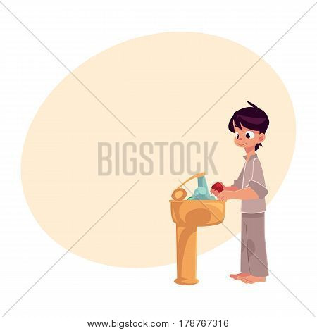 Little boy in pajamas washing hands with soap under running water, hygiene concept, cartoon vector illustration with place for text. Boy washing hands, hygiene, health care concept