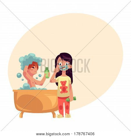 Little boy taking bath, washing hair and girl in pajamas brushing teeth, cartoon vector illustration with place for text. Boy in bathtub and girl brushing teeth, evening hygiene routine