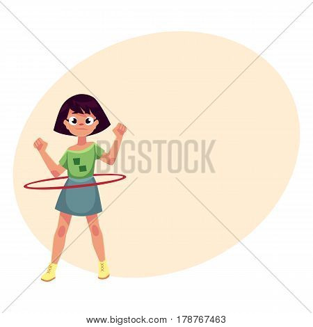 Teenage Caucasian girl spinning, playing with hula hoop, cartoon vector illustrationwith place for text. Girl with hula hoop, having fun at the playground