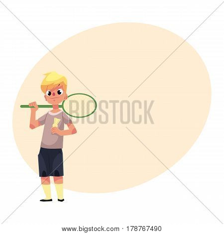 Teenage Caucasian boy halding badminton racket and birdie, cartoon vector illustration with place for text. Boy with badminton racket, summer activity, having fun at the playground