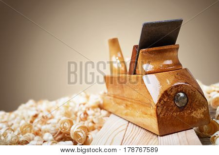 Wooden planer, natural building material, handcrafted wood, ancient hand tools