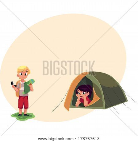 Camping kids - boy studying map with compass and girl looking out of tent, cartoon vector illustration with place for text. Kids camping, hiking, orienting, studying map and lying in tent