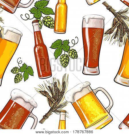 Seamless pattern of beer bottle, mug, glass, malt and hop on white background, sketch vector illustration. Hand drawn beer bottle, glass, hop seamless pattern, background, backdrop design
