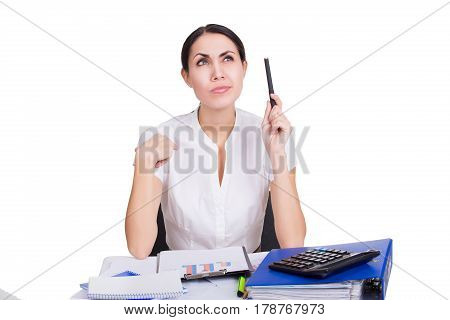 Beautiful business woman in formalware with documents thinking. Isolated.