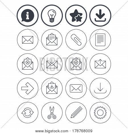 Information, light bulb and download signs. Mail services icons. Send mail, paper clip and download arrow symbols. Scissors, pencil and refresh thin outline signs. Receive, select and delete mail