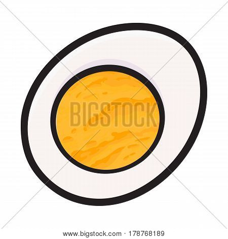 Boiled chicken egg cut in half, sketch style vector illustration isolated on white background. Hand drawn, sketched illustration, half of hard boiled chicken egg