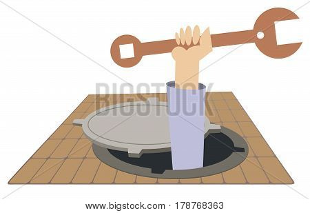 Mechanic working in the sewer manhole. Hand of the worker with a big spanner appears out from the sewer manhole