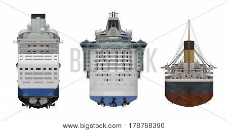 steamship rear view isolated on white. 3d rendering