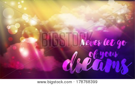 Inspiration quote Follow your dreams on the sky background with fluffy clouds. Motivational typographic.