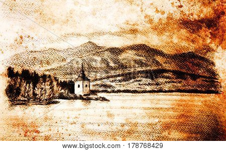 landcsape scenery with lake, chapel and mountains, pencil drawing, vintage effect