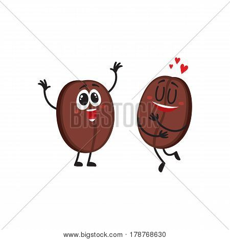 Two funny coffee bean characters, one showing love, another hands up from awe, delight, cartoon vector illustration isolated on white background. Two coffee bean characters, mascots, design elements
