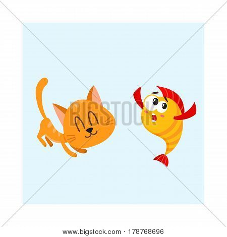 Funny smiling cat, kitten character trying to catch and eat golden, yellow fish, cartoon vector illustration isolated on white background. Golden fish and little cat, kitten characters, mascots