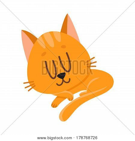 Cute and funny red cat character sleeping, dreaming sweetly, cartoon vector illustration isolated on white background. Cute and funny sleeping red cat character