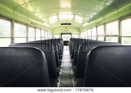 Interior of an old school bus
