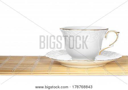 Mug For Tea On Bamboo Mat