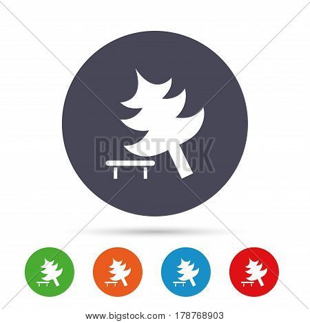 Falling tree sign icon. Caution break down christmas tree symbol. Round colourful buttons with flat icons. Vector