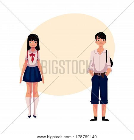 Typical teenage Japanese students, schoolgirl and schoolboy, in typical uniform, cartoon vector illustration with place for text. Full length portrait of typical Japanese school students