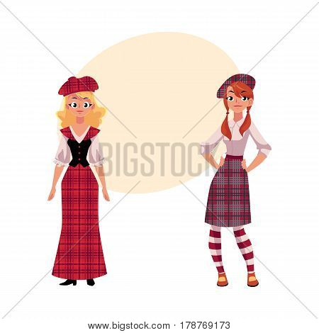 Two Scottish women in traditional and modern national clothes, tartan berets and kilts, cartoon vector illustration with place for text. Full length portrait of two Scottish women in tartan