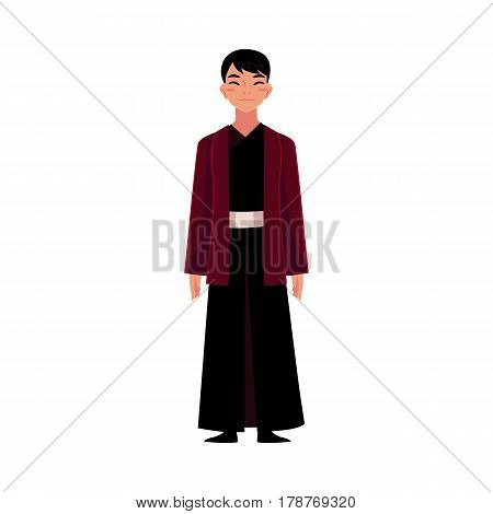 Chinese man in traditional national costume, black changshan robe and jacket, cartoon vector illustration isolated on white background. Man from China in Chinese national clothes, garment, costume