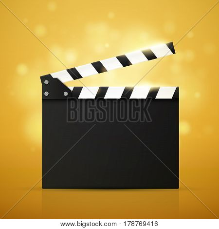 Cinema Flyer Or Poster With Movie Reel And Clapper Board. Vector Illustration Of Film Industry. Template For Your Design