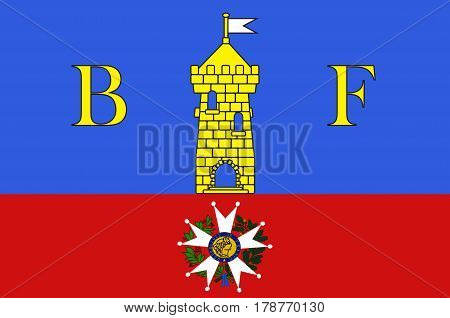 Flag of Belfort is a city in northeastern France in the Bourgogne-Franche-Comte region. Vector illustration