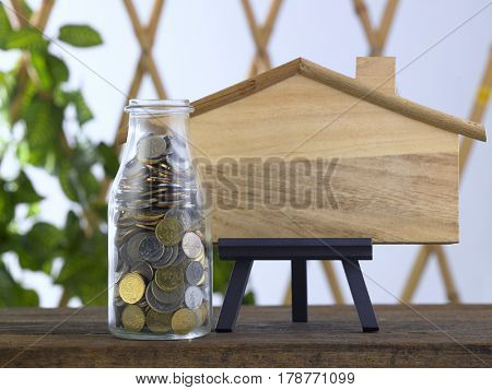 saving jar and blank model house for copy