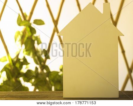 blank house shape in front of bamboo fence