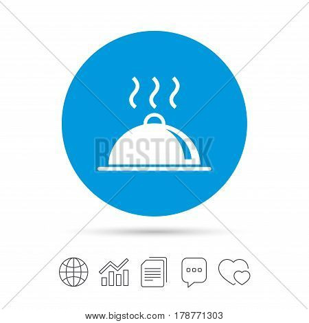 Food platter serving sign icon. Table setting in restaurant symbol. Hot warm meal. Copy files, chat speech bubble and chart web icons. Vector