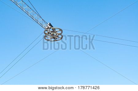 Block The Cable Car On The Sky Background