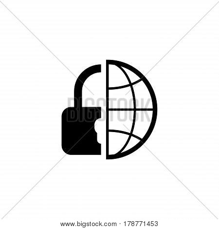Global Security Icon. Flat Design. Business Concept Isolated Illustration.