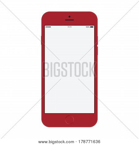 smartphone red color with blank touch screen isolated on white background. stock vector illustration eps10
