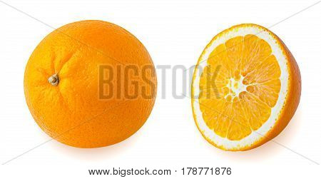 Isolated oranges fruits. Whole orange and orange sliced isolated on the white background with clipping path