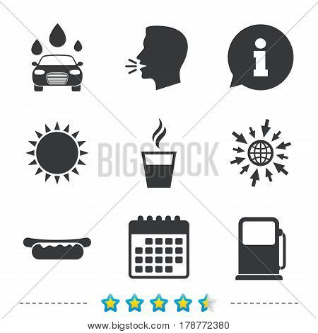 Petrol or Gas station services icons. Automated car wash signs. Hotdog sandwich and hot coffee cup symbols. Information, go to web and calendar icons. Sun and loud speak symbol. Vector